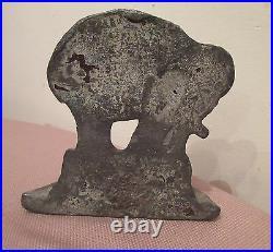 Heavy rare antique 1800's solid lead figural circus elephant doorstop iron stop