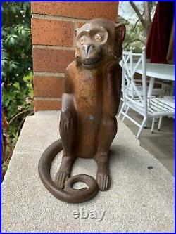 Hubley Antique Vintage Cast Iron Full Figure Monkey Doorstop