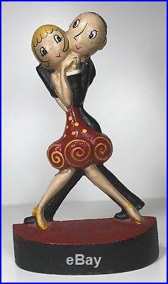 Hubley Cast Iron Charleston Dancers Doorstop Door Stop Signed C Fish Art Deco