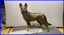 Hubley Cast Iron Police Dog German Shepherd Doorstop Alsatian 1930s