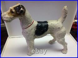 Huge Antique Hubley Fox Terrier Cast Iron Dog Art Statue Sculpture Home Doorstop