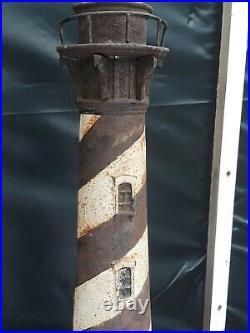 LARGE 1920s ANTIQUE LIGHTHOUSE CAST IRON DOORSTOP CAPE HATERAS ORIGINAL PAINT