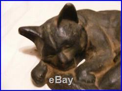 LARGE sleeping Cat doorstop, cast iron, dusty but Good condition