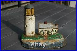 LIGHTHOUSE & KEEPERS HOME Antique Cast Iron Figural Doorstop Nautical Seaside
