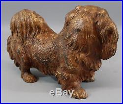 Large Antique Authentic Hubley 454 PEKINGESE Dog Cast Iron Doorstop, NR