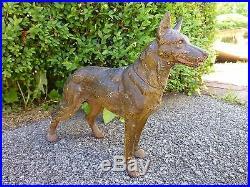 Large Antique Cast Iron Hubley #380 German Shepherd Doorstop Statue 13 Long Dog