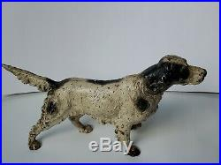 Large Antique Cast Iron Pointer Setter Hunting Dog Doorstop Hubley