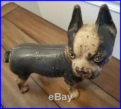 Large Antique Heavy Cast Iron Boston Terrier Bulldog Dog Doorstop