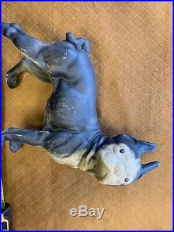 Large Antique Hubley Cast Iron Boston Terrier Dog Door Stop Original Paint