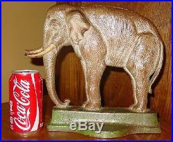 Large antique vintage cast iron elephant door stop-Davison Co. 15131