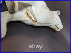 Life-Size Cast Iron White Rabbit Bunny Vintage Doorstop Garden Decor Hubley