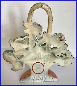 Lovely Genuine Antique Cast Iron Hubley Pink Flower Basket Doorstop #182