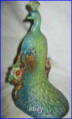 Mint Antique USA Cast Iron # 712 Lacs Peacock Flower Bird Art Doorstop Hubley Us