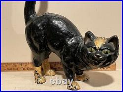 Nice Original Paint Antique Halloween Black Cat Cast Iron Door Stop Green Eyes