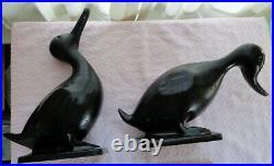 Nicest Vintage Original Metalcraft Pair Iron Ducks 1950 Creampuff Condition