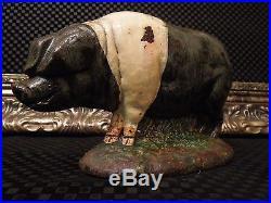 OINK! Rare Antique Hog Pig Sow Farm Doorstop Cast Iron American Foundry Vintage