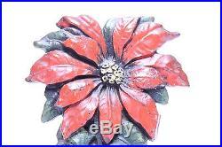 ORIGINAL ANTIQUE CAST IRON CJO JUDD POINSETTIA FLOWER FLORAL DOORSTOP 10