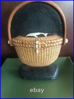 Oak & Ivory Iron Nantucket Basket Door Stopper Whale #1/500 Original Box