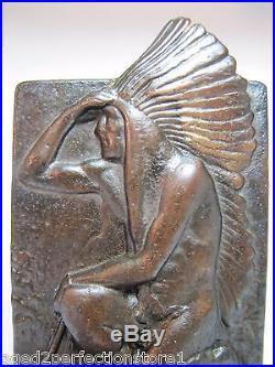 Old Cast Iron Indian Chief Bookend kneeling w tomahawk bronze wash doorstop