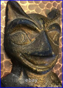 Old Iron Totem Pole Doorstop Orig. Gold Paint Northwest Coast & Art Deco Style