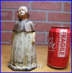 Old YOUNG GIRL Flower Dress Sweater Cast Iron Doorstop Decorative Art Statue