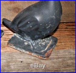 Orig 1950 Cast Iron Ducks Doorstop Garden Statue Virginia Metalcrafters Pair / 2