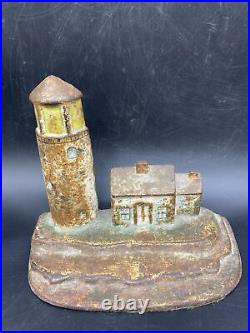Original Antique Cast Iron Doorstop Lighthouse Keepers Cottage Home Old Nautical