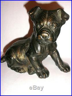 Original Antique Cast Iron Hubley Boston Terrier seated Puppy Doorstop
