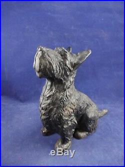 Original Antique Cast Iron Hubley Sitting Scottie Dog Doorstop Bookend Statue