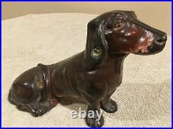 Original Antique Hubley Cast Iron Sitting Dachshund Wiener Dog Doorstop