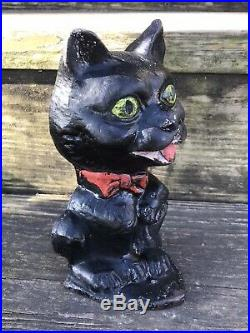 Original Big Headed Cat Cast Iron Doorstop Eastern Specialty Design #62 Rare