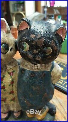 Original Cast Iron Drayton Twin Cats Figural Doorstop