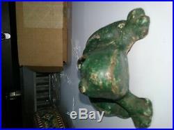 Original Early 1900s Antique Cast Iron Frog Door Stop