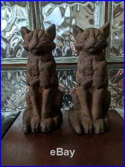 PAIR Antique NATIONAL FOUNDRY Cast Iron SITTING CAT DOORSTOP Statue Sculpture