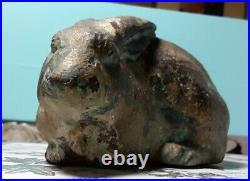 PRIMITIVE antique Cast Iron Rabbit garden statue door stop