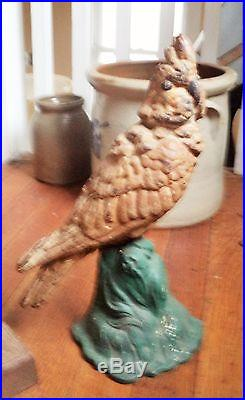 Pair Antique Bradley & Hubbard Parrot Bird Doorstop Cast Iron Cockatoo/Parakeet