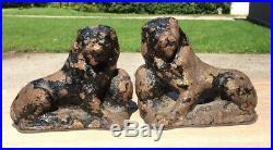 Pair of 19th C Painted Cast Iron Lions Antique English Garden Statue Doorstop