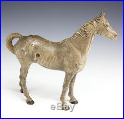 Polychrome Cast Iron Horse Doorstop Buff or Taupe color, c 1920s