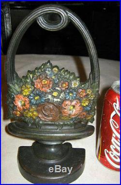 Premium Antique Bradley & Hubbard Flower Plant Art Basket Cast Iron Doorstop B&h