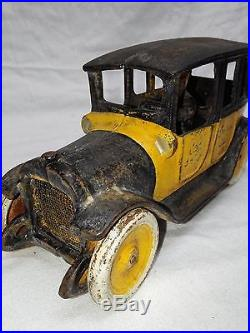RARE ANTIQUE 1920's ARCADE CAST IRON TOY TAXI YELLOW CAB CO CAR BANK DOOR STOP