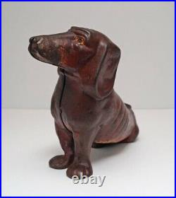 RARE ANTIQUE OVERSIZE DACHSHUND DOG CAST IRON DOORSTOP CA. 1920's-30's