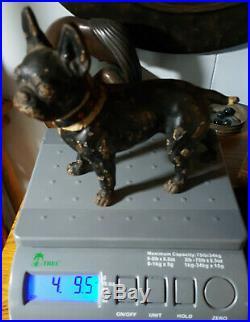 RARE Antique Boston Terrier LEFT FACING Cast Iron Collar Doorstop NOT A HUBLEY