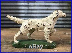 RARE Antique Vtg 30s Hubley Cast Iron Irish Setter Pointer Dog Bookend Doorstop