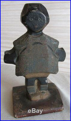 RARE HUBLEY TOPSY African American GIRL Black CAST IRON TOY DOLL DOORSTOP OLD