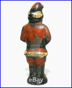 RARE LATE 19TH-EARLY 20TH C ANTIQUE CAST IRON SANTA CLAUS DOORSTOP, WithORIG PAINT