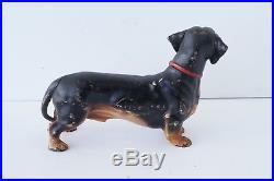 RARE Vintage HUBLEY PA USA cast iron dachshund dog doorstop art statue