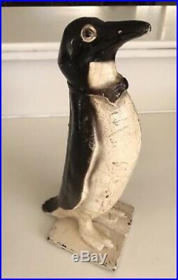 Rare Antique Cast Iron Door stop Doorstop Penguin has Bow Tie 10.5