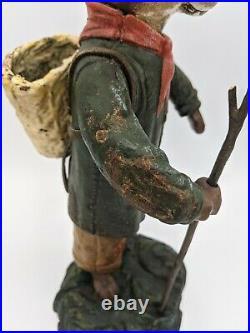 Rare Antique Cast Iron Metal Rabbit Doorstop Figurine