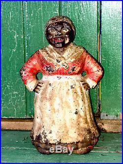 Rare Antique Hubley Cast Iron Black Aunt Jemima Mammy Doorstop Original Paint