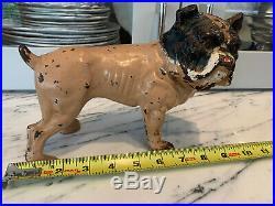 Rare Antique Hubley English Bulldog Cast Iron Doorstop Smooth Hand Painted